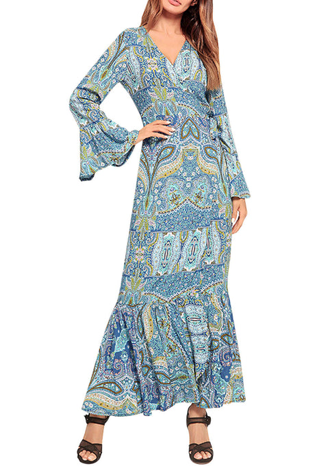 Iyasson Bohemia Print Ruffle-Hem Maxi Dress