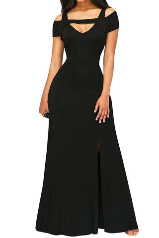Iyasson Solid Front-Slit Maxi Dress