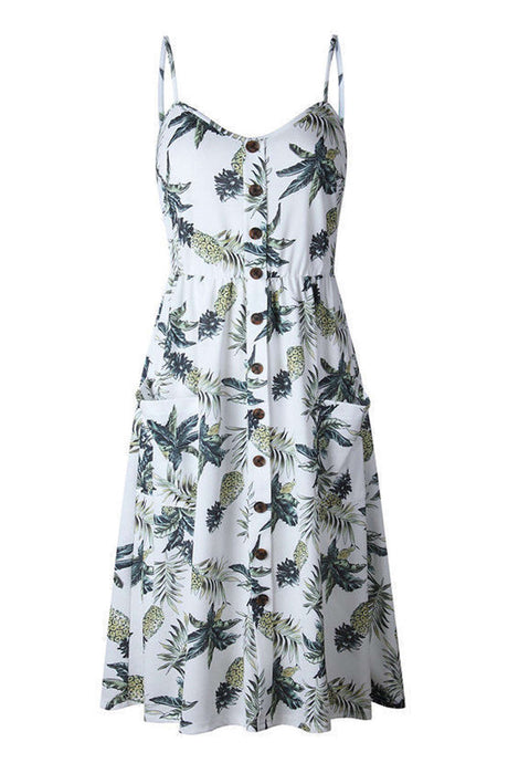 Iyasson Women Floral Print Sling Slip dress