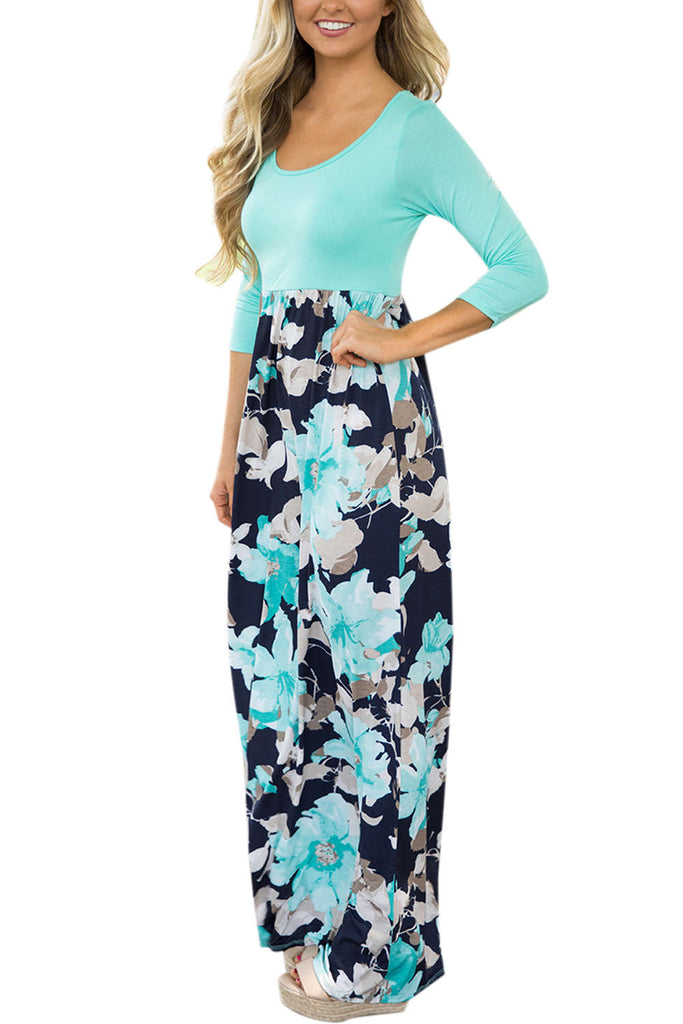Iyasson Women's Maxi Dress Floral Printed Autumn 3/4 Sleeve Casual Tunic Long Maxi Dress