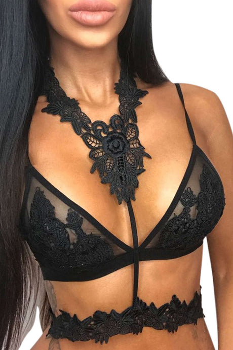 Iyasson Lace Bra With Choker