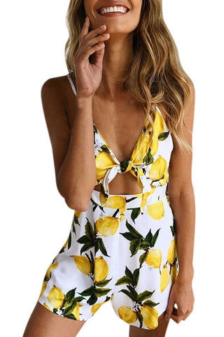 Iyasson Women Mango Printed V-neck Romper