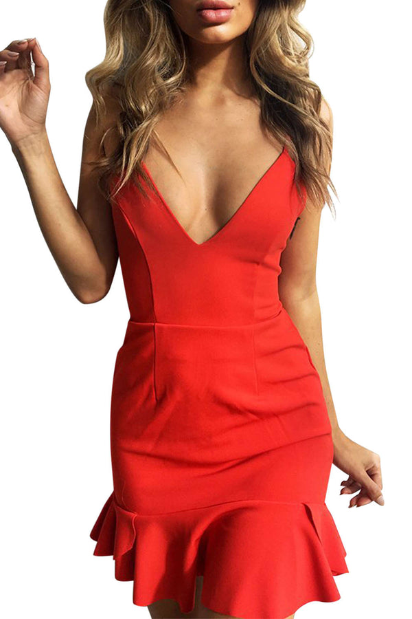 Iyasson Women Sexy V-neck Spaghetti Strap Bodycon Mini Dress