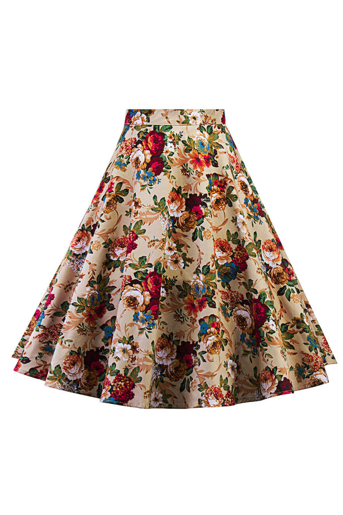 Iyasson Women Floral Printed Flared Full Circle Midi Skirt