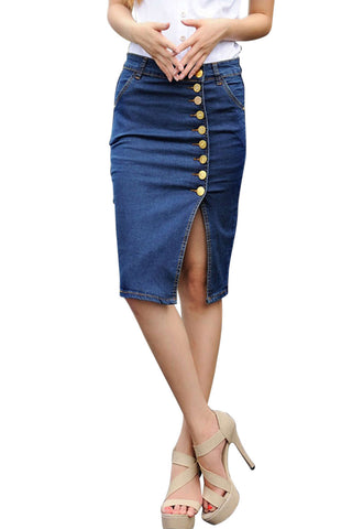 Iyasson Button Front High Waist Denim Pencil Skirt