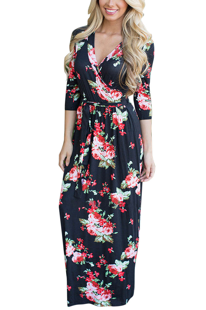 Iyasson 2018 Deep V Neck Boho Floral Wrap Maxi Dress
