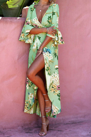Iyasson Bohemian Floral Print Bell Long Sleeves Maxi Dresses