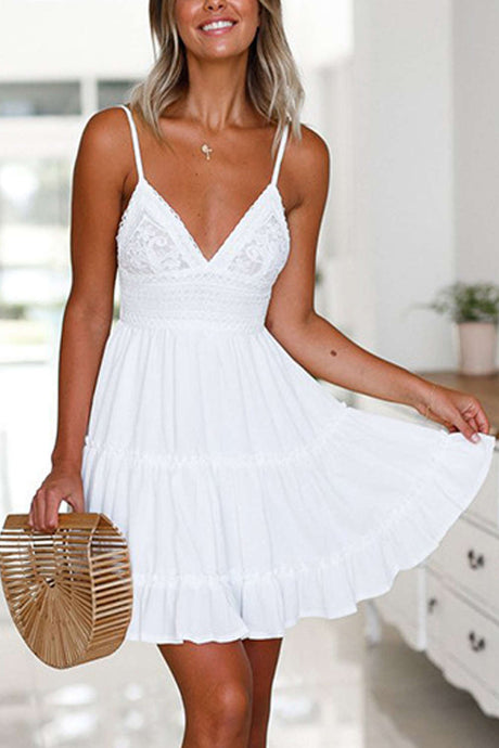 Iyasson Boho Backless V-neck Beach Sundress
