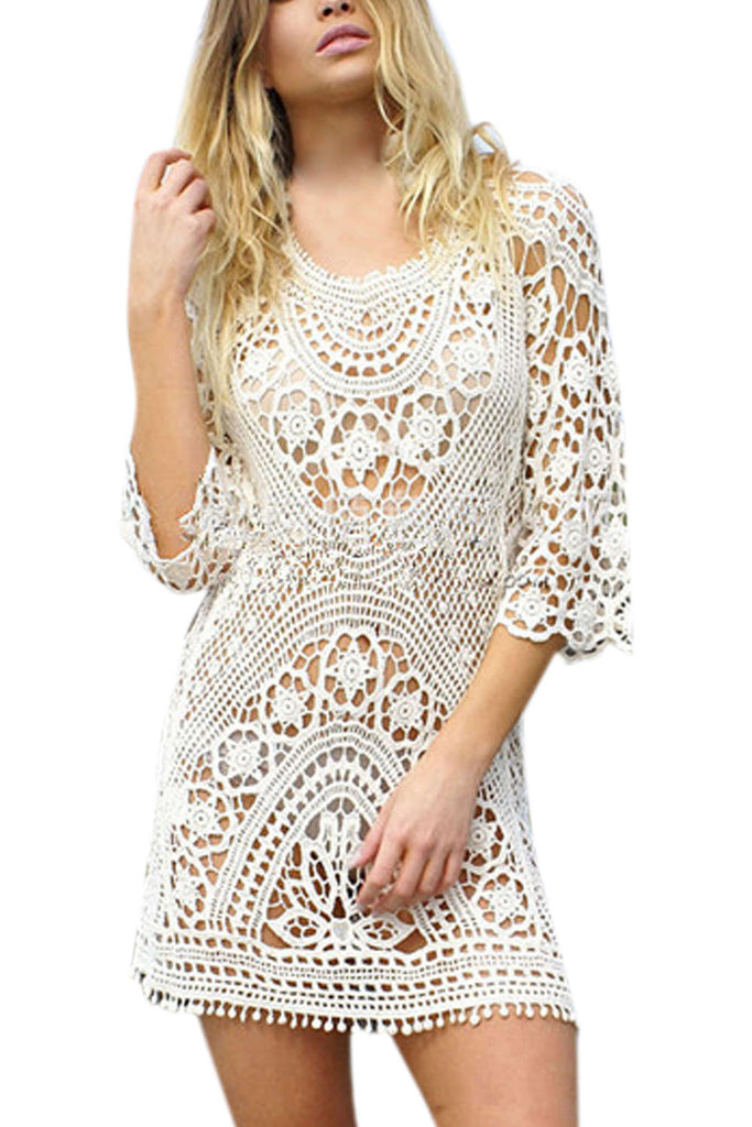 Iyasson Sexy Crochet Bikini Coverup Lace Dress