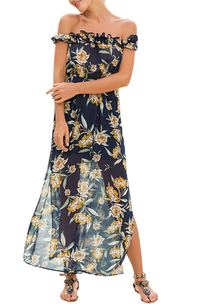 Iyasson Off Shoulder Falbala Floral Printed Maxi Dress
