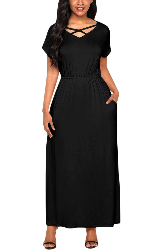 Iyasson V Neck Short Sleeve Maxi Dress