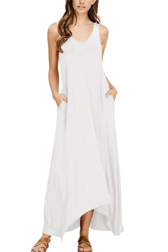 Iyasson Sleeveless V Neck Beach Dress