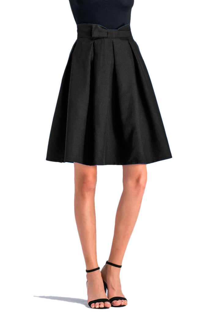 Iyasson Pleated Bowknot Skirt High Waist Midi Skirt