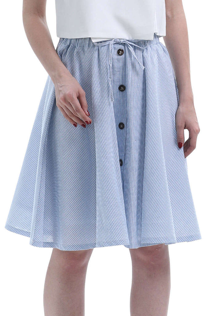 Iyasson Pleated Bowknot Skirt High Waist Knee Stripes Skirt