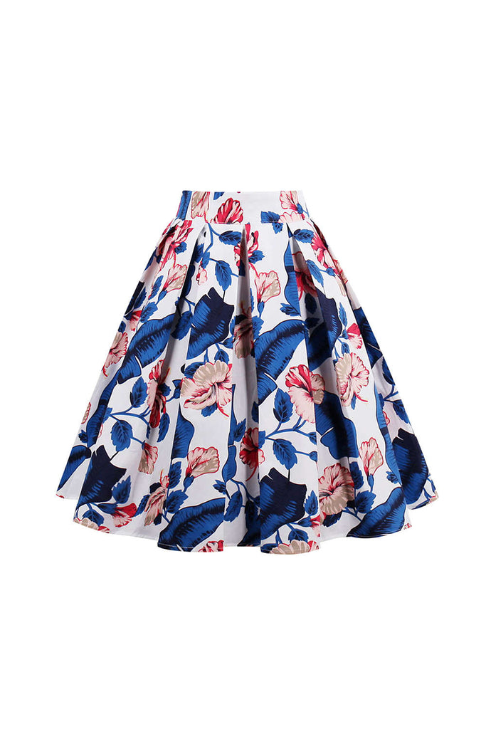 Iyasson High Waist Midi Skirt Floral Printed Pleated Skirt
