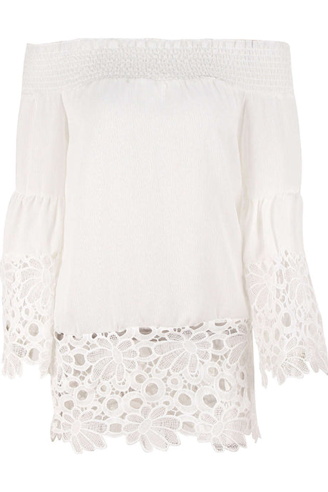 Iyasson Chiffon Off Shoulder Lace Top