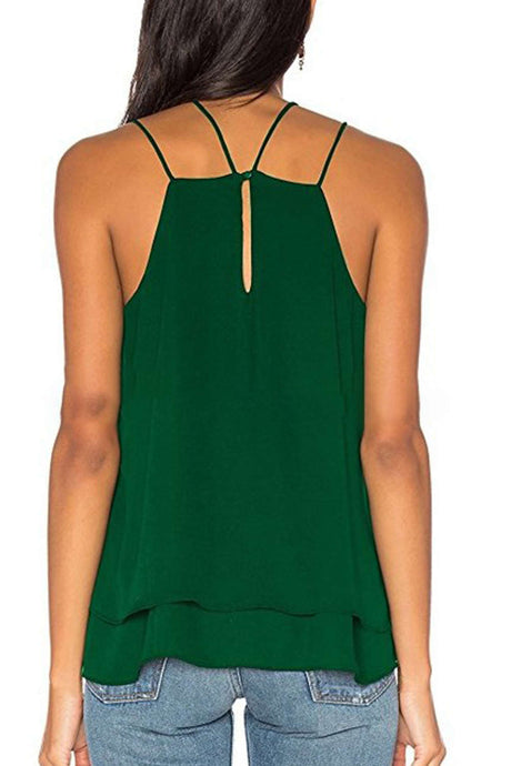 Iyasson Summer Chiffon Solid Sleeveless Cami Top