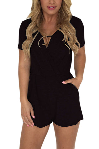 Iyasson Cross V Neck Sexy Slim Fit Romper