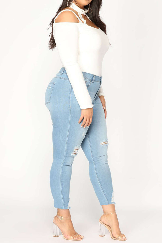 Iyasson Women's High Waisted Ripped Jeans