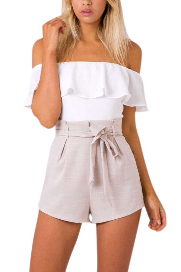 Iyasson Off-the-Shoulder Color-block Romper