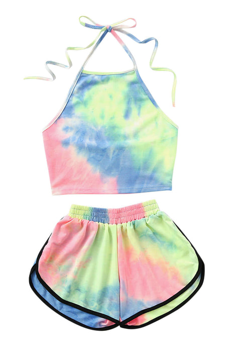 Iyasson Women's Tie-dye Halter Crop Top & Shorts