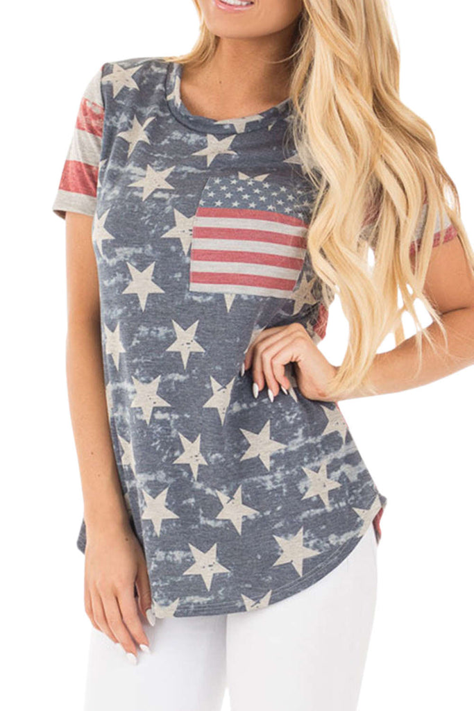 Iyasson American Flag Digital Printing T-shirt