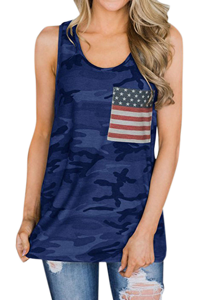 Iyasson American Flag Pocket Camo Casual Tank Tops