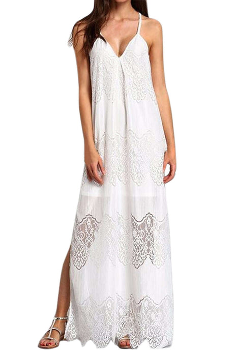 Iyasson Sexy Lace V-neck Beach Maxi Dress