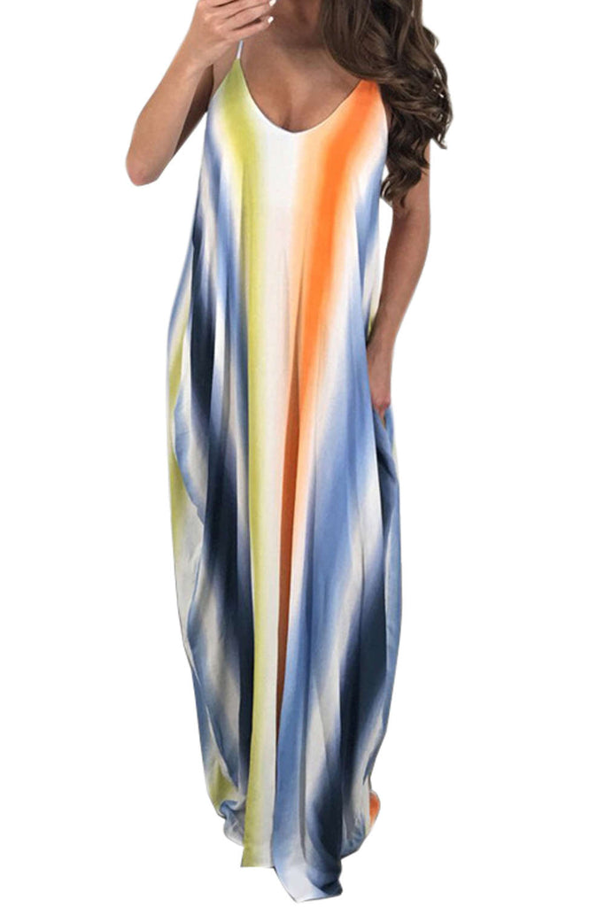 Iyasson Color-block Stripes Maxi Dress