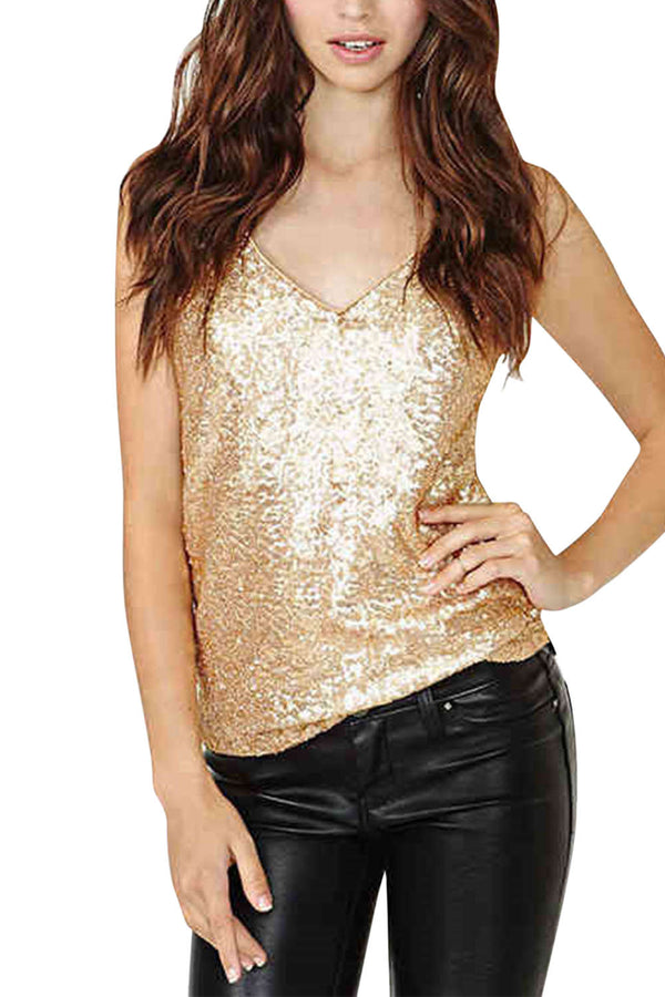 Iyasson Sexy Sequin V-neck Cami Top