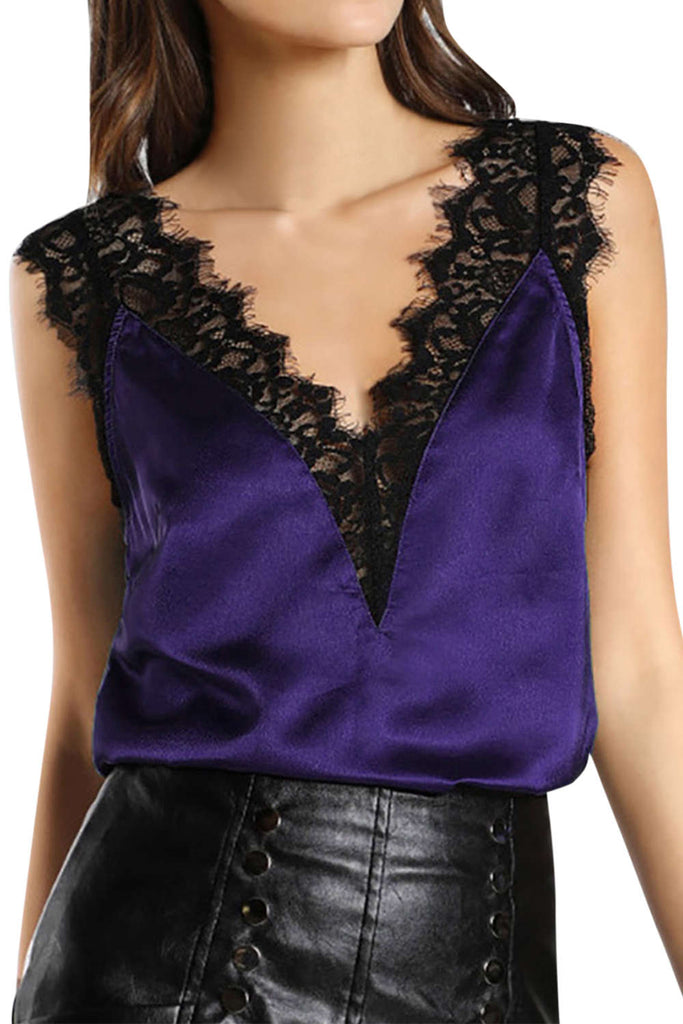 Iyasson Women's Sleeveless Lace Satin Camisole Top