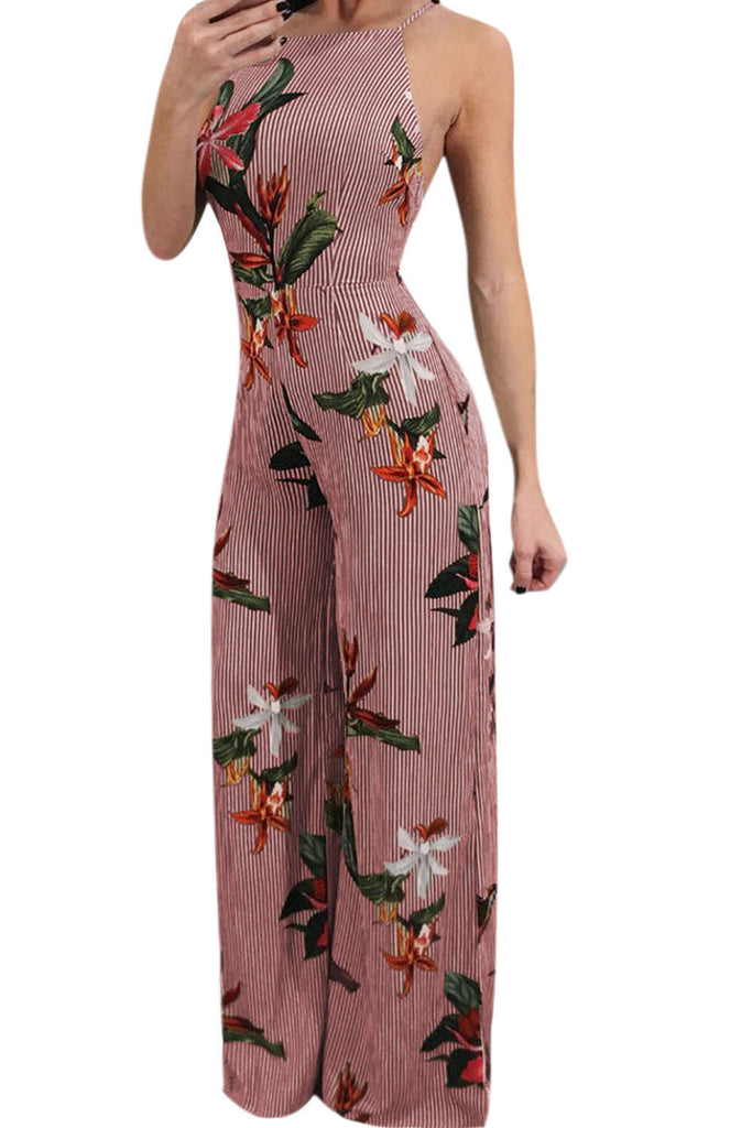 Iyasson Womens Floral Wide Leg Jumpsuits