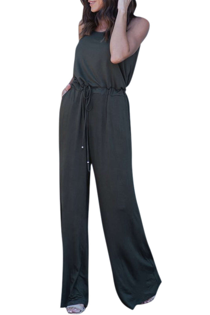 Iyasson Women Spaghetti Strap Stretchy Wide Leg Jumpsuit