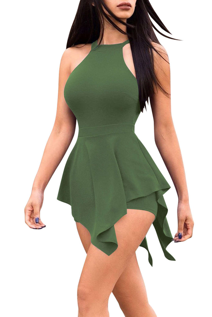 Iyasson Women Cut Out Peplum Bodycon Romper