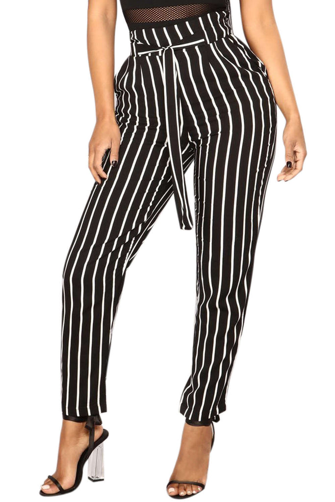 Iyasson Women's Striped High Waisted Pants