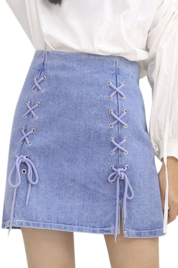 Iyasson Women's Lace Up Denim Skirt