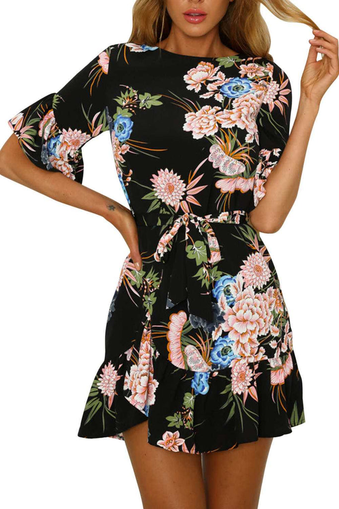 Iyasson Floral Printing Flutter Sleeves Mini Dress