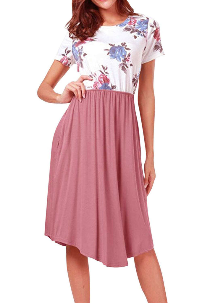 Iyasson Floral Printing Splicing Short Sleeve Midi Dress