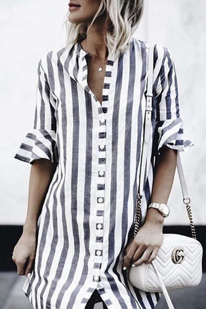 Iyasson V-neckline Striped Bell-Sleeves Blouse