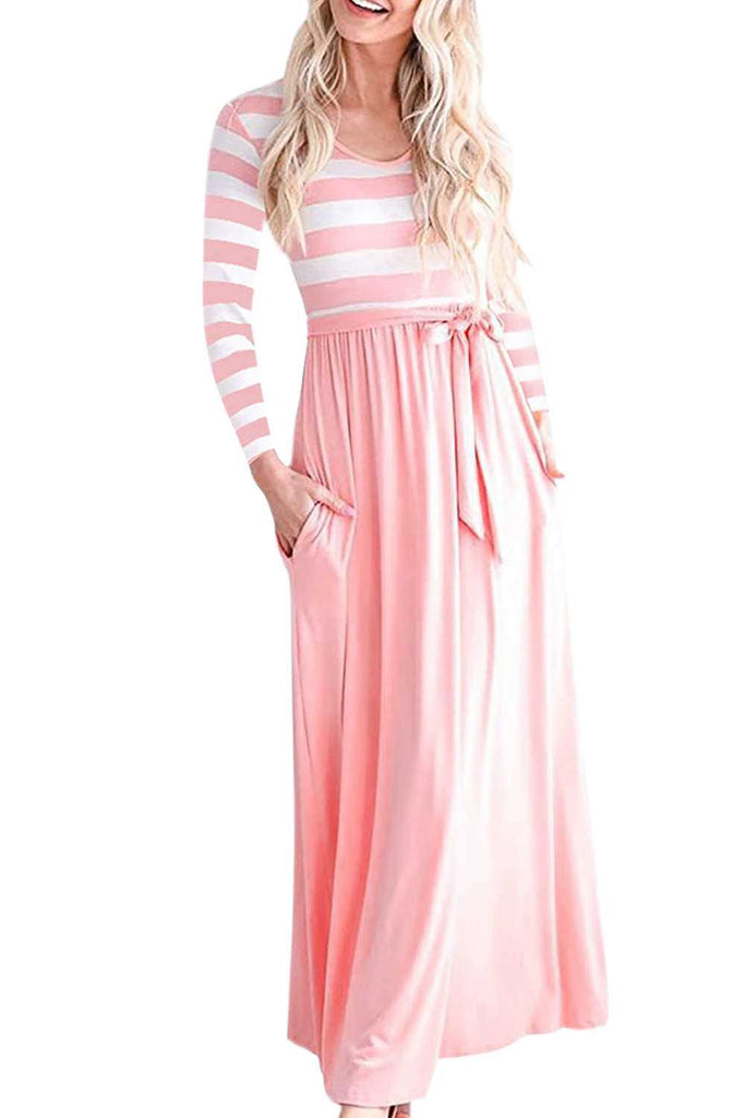 Iyasson Long Sleeve Striped Maxi Dress