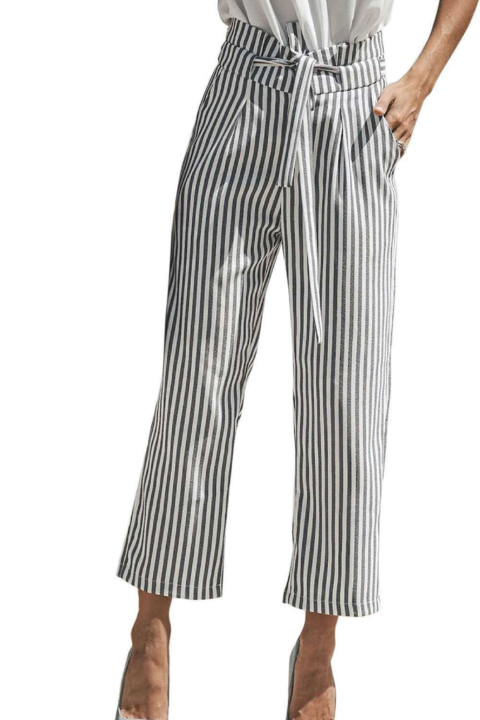 Iyasson Vertical Stripe Pattern Waist Banded Loose Straight Pant