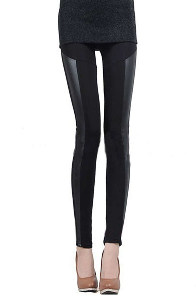 Iyasson Sexy Fashion Women Stitching Stretchy Faux Leather Tight Leggings Pants