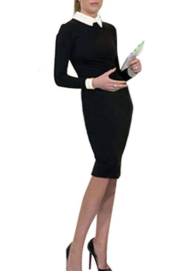 Iyasson Lady Women Long Sleeve Slim Stretch Work Out Pencil Dress