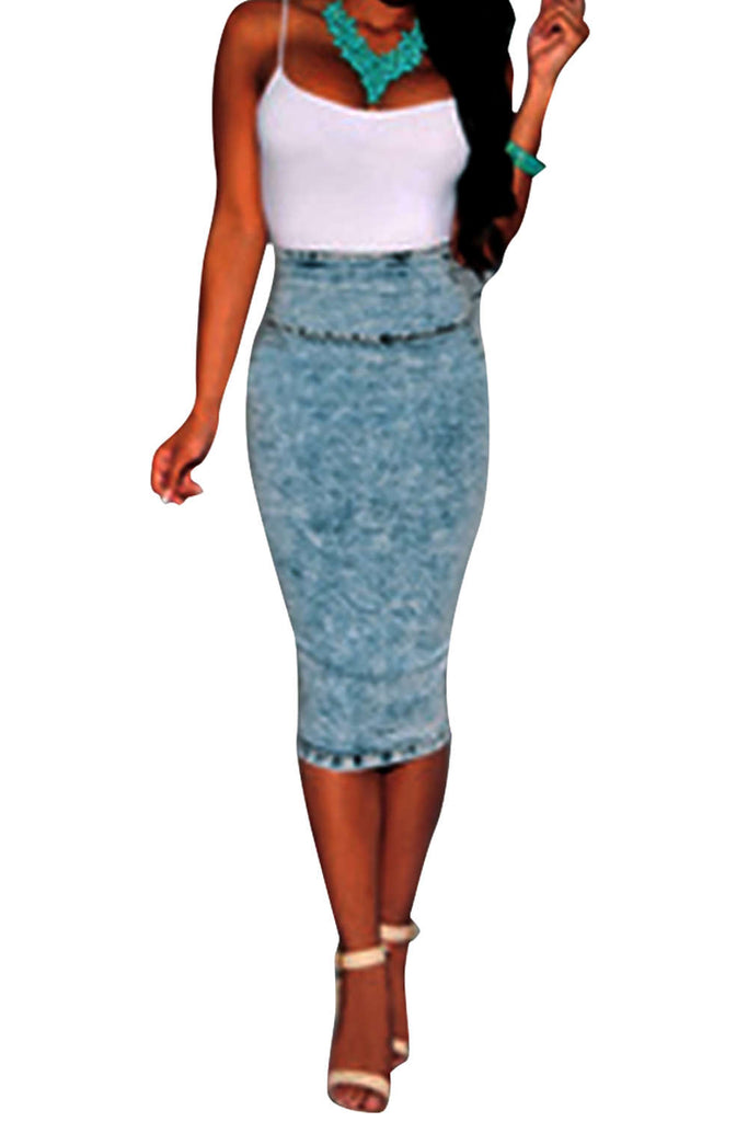 Iyasson Women Stretch High Waist Plain Denim Pencil Skirt