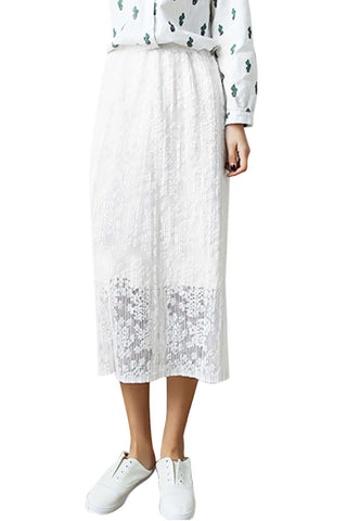 Iyasson Fashion Retro Woman Lace Long Skirt