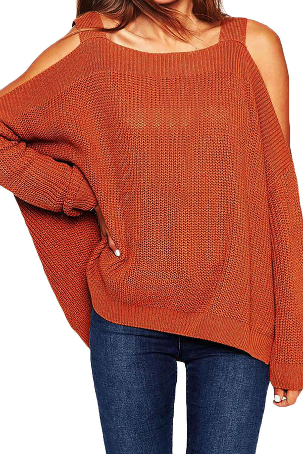 Iyasson New Off-the-shoulder Pullover Sweater
