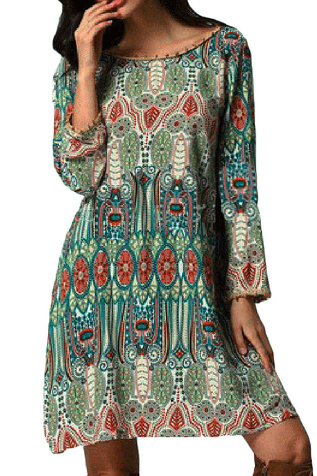 Iyasson Women Bohemian Long Sleeve Casual Tunic Dress