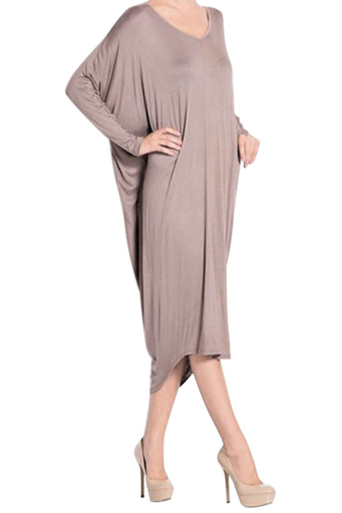 Iyasson Women Bat-wing Sleeve Loose Mid-length Dress