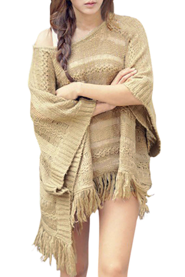 Iyasson Women Fashion Batwing Tassel Cape Poncho Knit Top Sweater