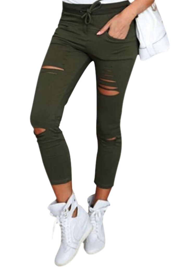 Iyasson Women Skinny Ripped Pants High Waist Stretch Slim Pencil Trousers